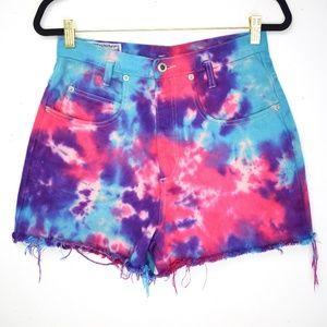 *Tie Dye* Vintage1990s High Rise Jean Shorts